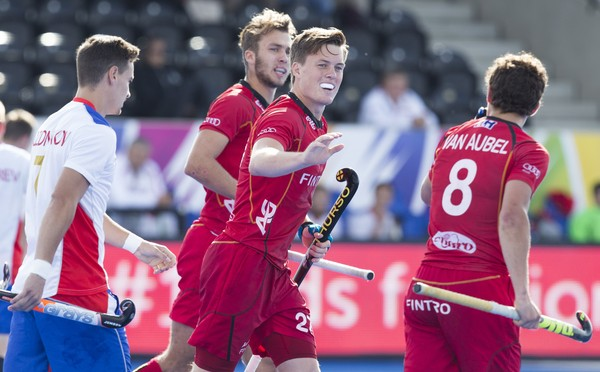 LONDON -  Unibet Eurohockey Championships 2015 in  London. Belgium v Russia. Belgium Tom Bon (m) has scored 2-0.  WSP Copyright  KOEN SUYK