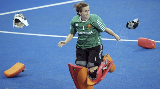LONDON - Unibet EuroHockey Championships women 20 ENG v NED (Gold Medal Match) 2-2 England Europese Champion by winning the shoot outs Foto: Maddie Hinch (Gk)  winning and celebrating. WSP COPYRIGHT FRANK UIJLENBROEK
